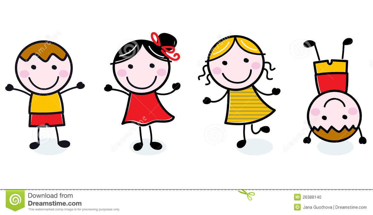 Doodle happy kids group Happy Child Clipart