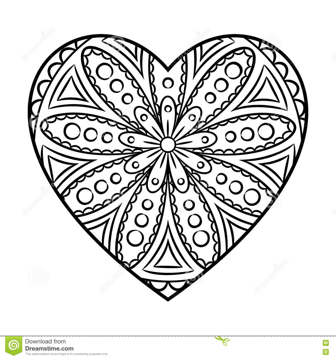 Doodle Heart Mandala Stock Vector Illustration Of
