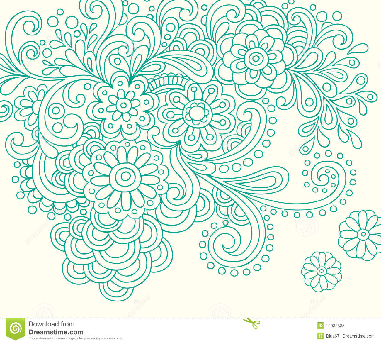 Doodle Henna Abstract Flowers Vector Stock Vector - Image