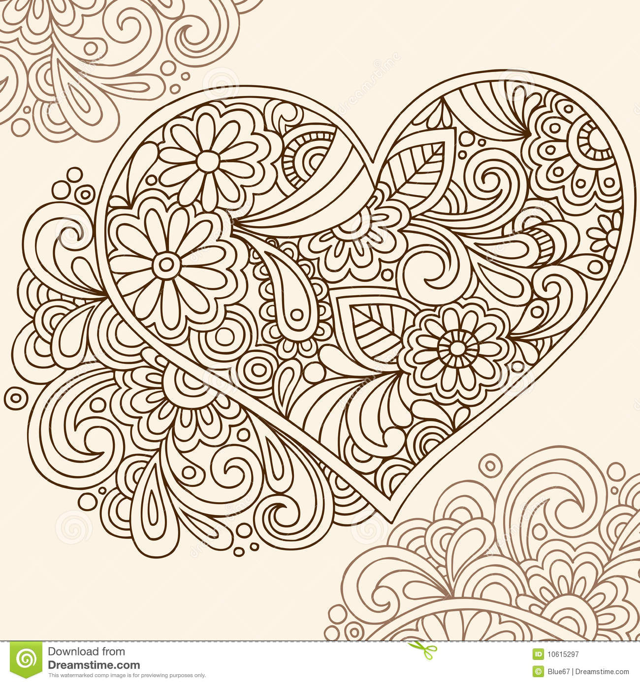 Hand drawn Doodle Henna Heart Vector Illustration With Flowers And