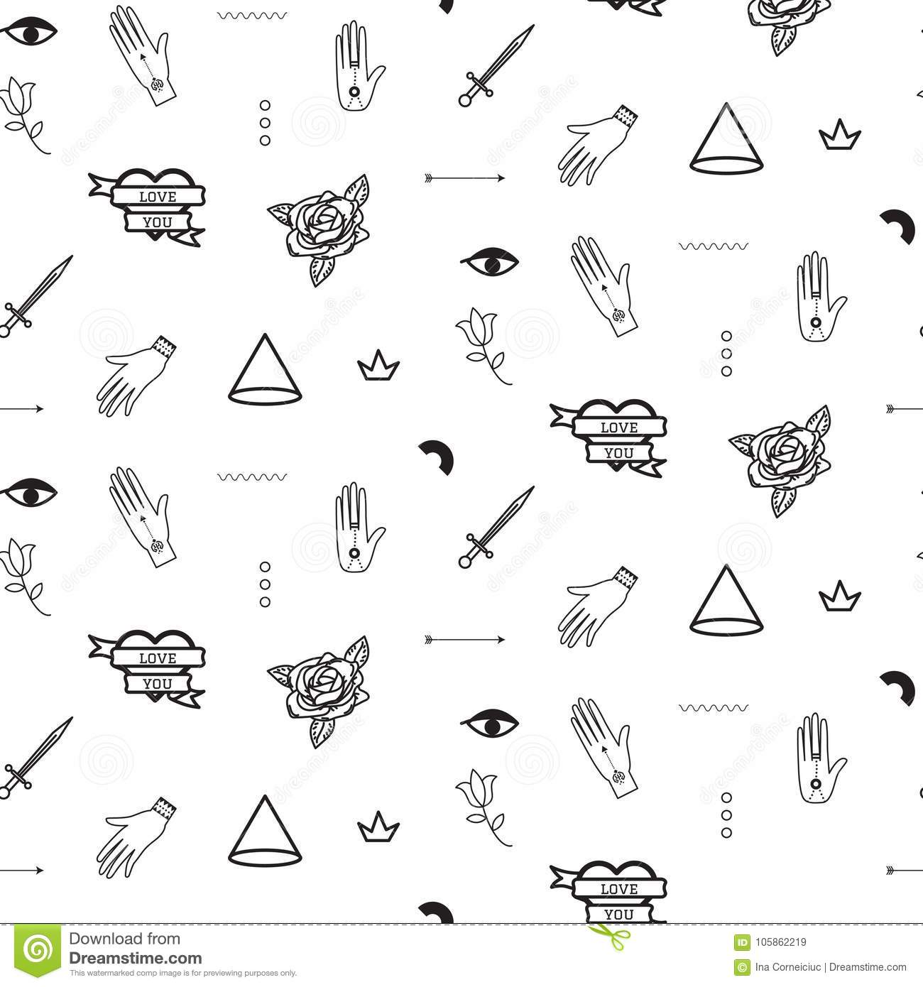 9c46b98c20ca7 Doodle Hipster Flash Tattoo Style Seamless Vector Pattern. Stock ...