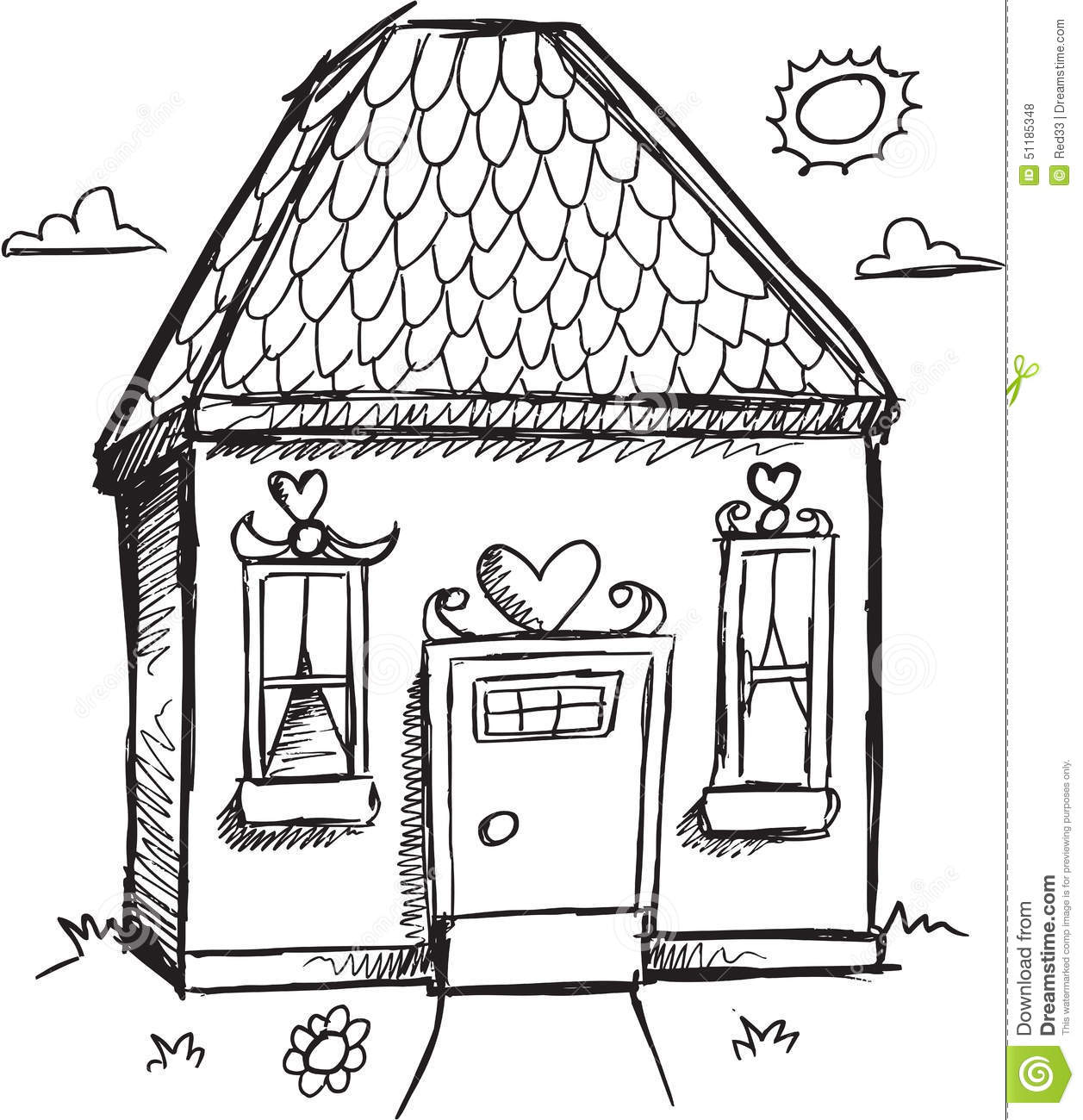 Doodle House Vector Stock Vector Illustration Of Doodle