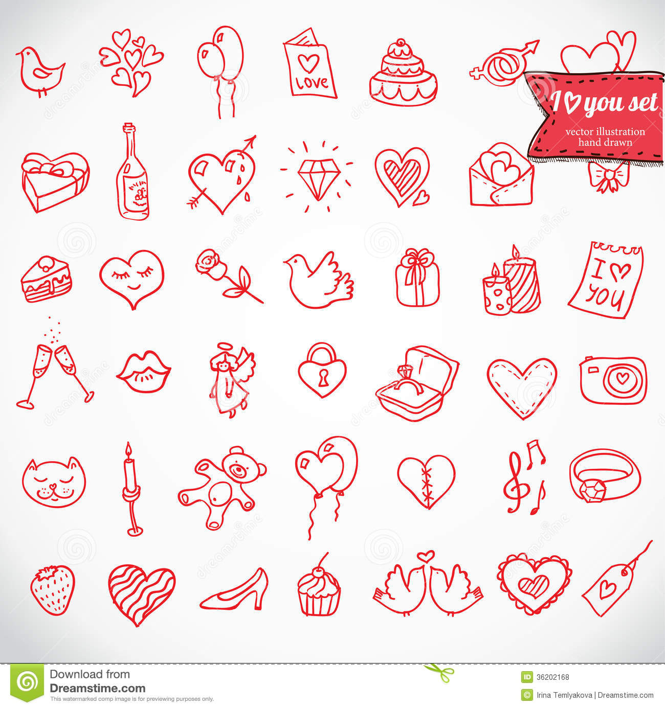 doodle icon set isolated i love you vector illustration hand drawn 36202168