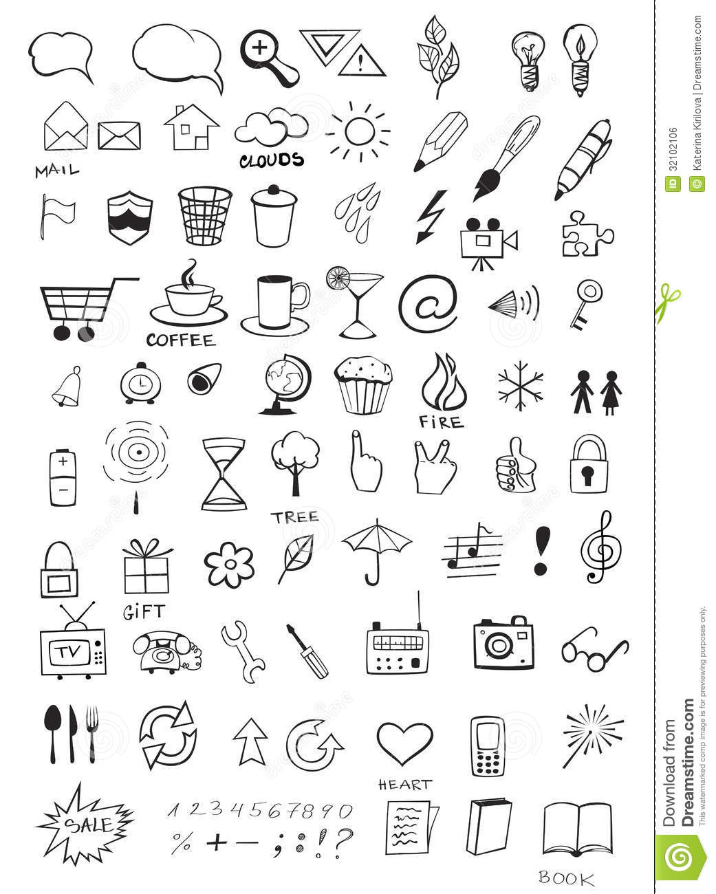 Hand Drawing Line Icons : Doodle icons royalty free stock image