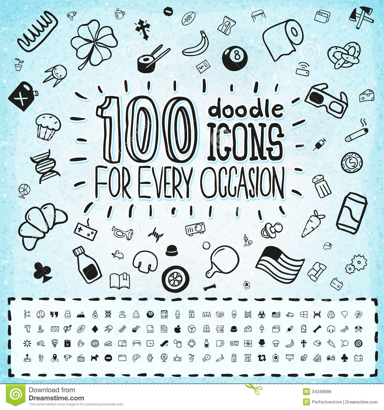 100 Doodle Icons Universal Set Stock Vector - Illustration of ...