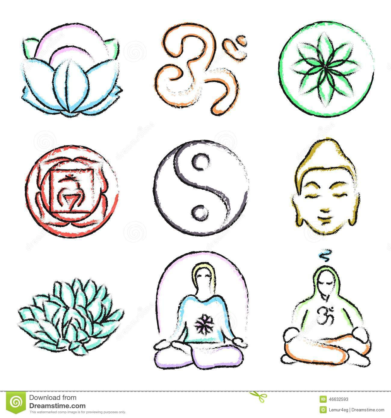 Doodle icons of yoga stock vector. Image of contour ...