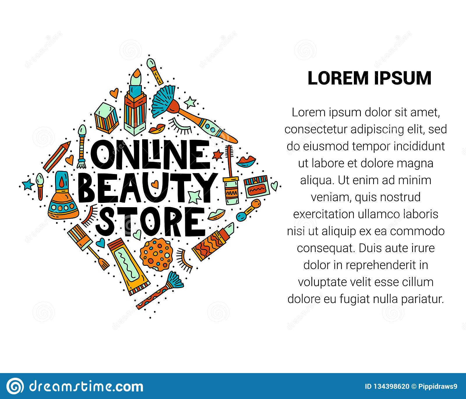Online Beauty Store  Lettering With Doodles Stock Vector