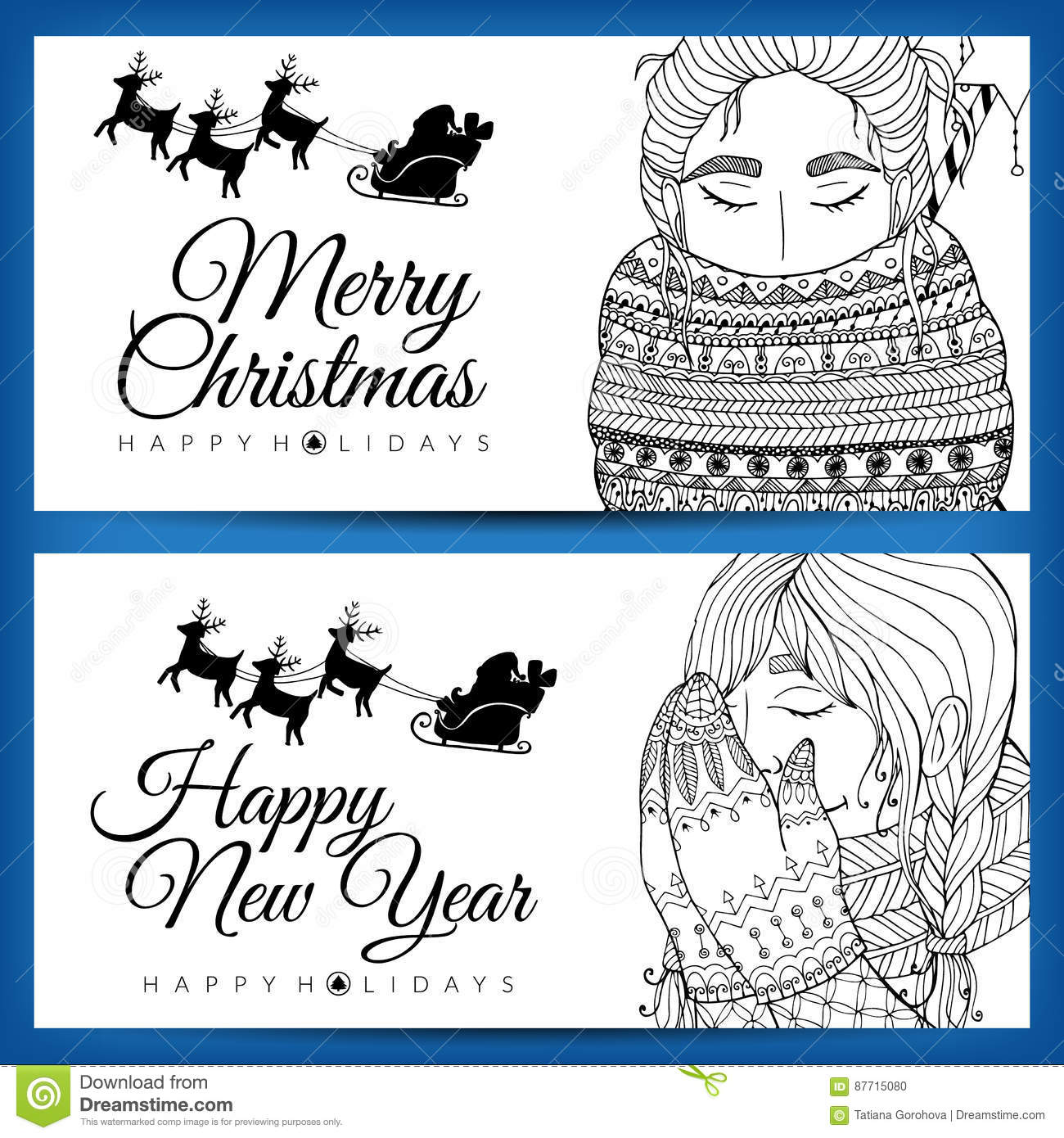 doodle illustration card girl santa new year vector coloring page anti stress for