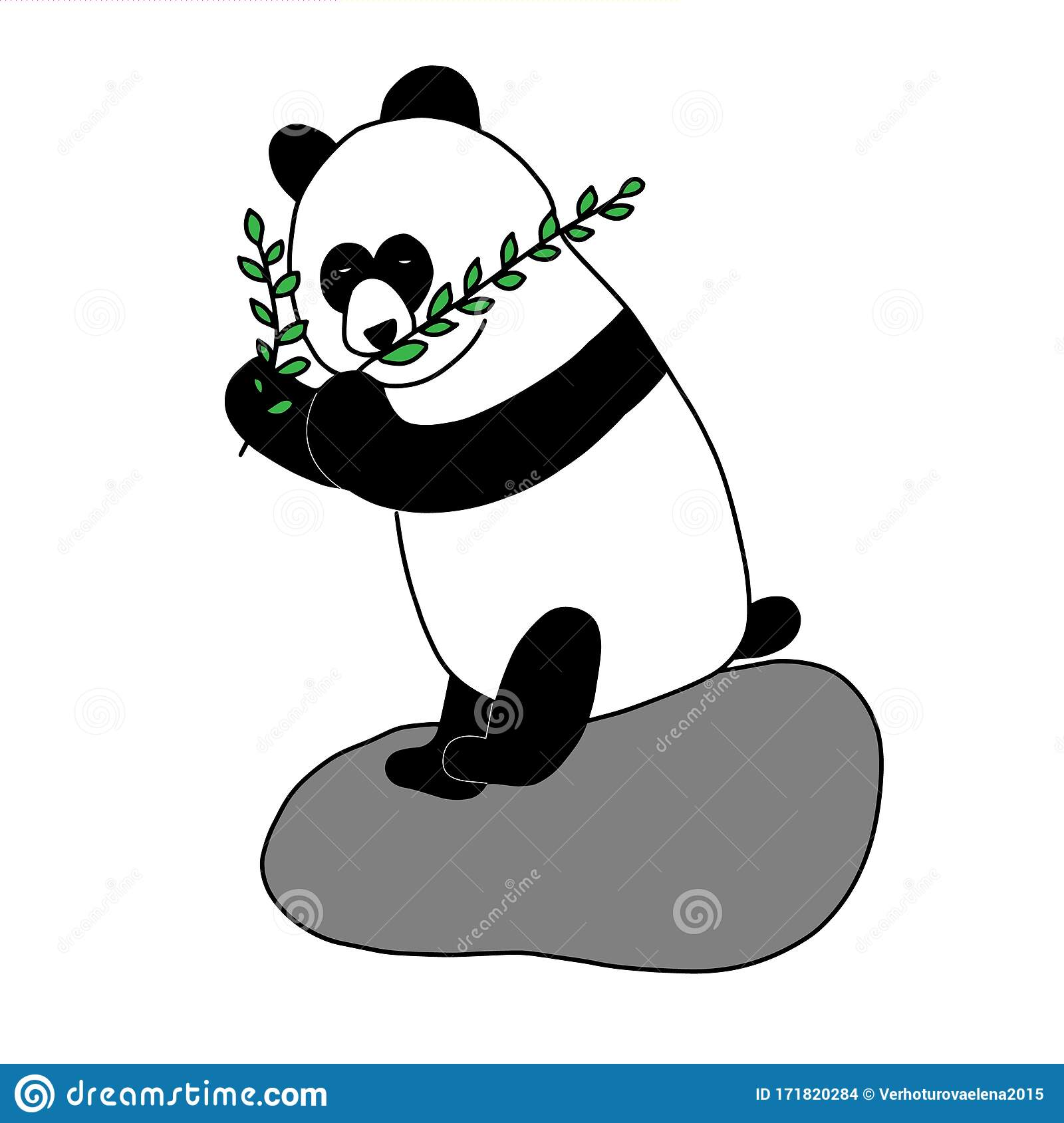Doodle Illustration Cute Baby Background Panda Bear Logo Baby Collection Beautiful Sketch Poster With Black Panda Stock Vector Illustration Of Beautiful Adorable 171820284