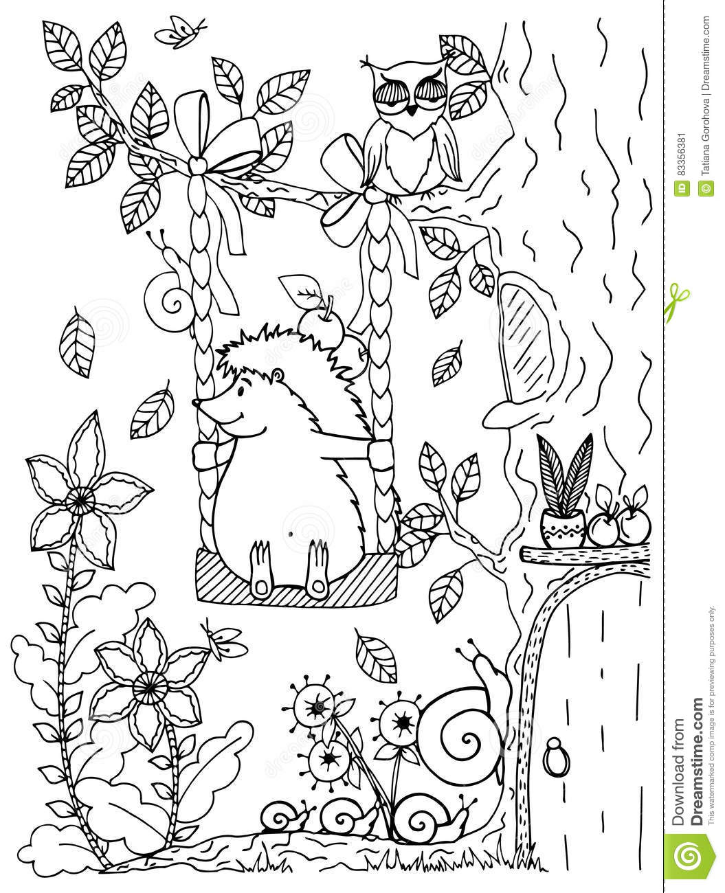 Doodle Illustration Of A Hedgehog On A Swing. Vector. Coloring Page ...