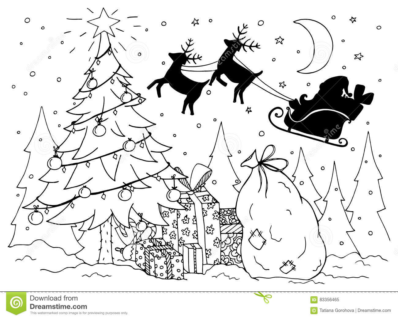 Doodle Illustration Of Santa In A Sleigh With Reindeer. New Year ...