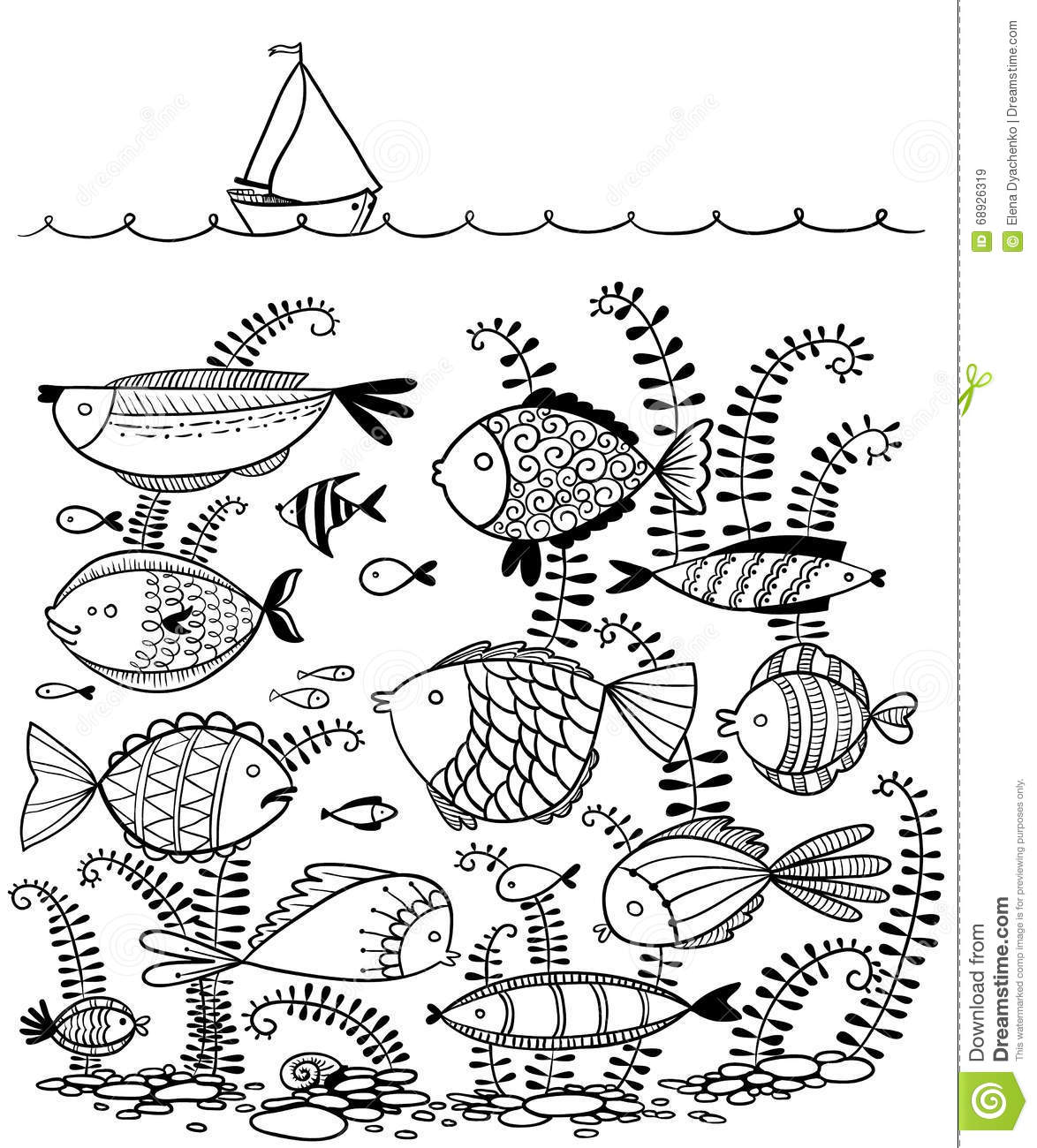 Line Art Underwater : Doodle illustration with underwater fishes and sailing