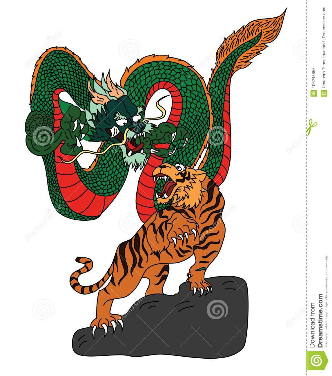 Japanese Tiger And Dragon Tattoo Design Vector For Sticker Stock