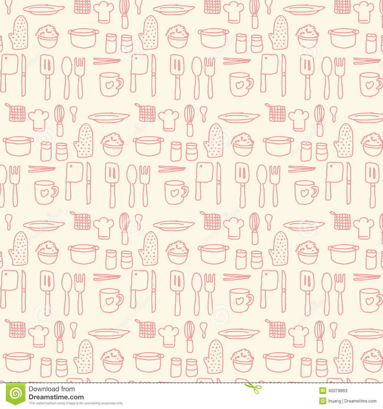 Doodle Kitchen Seamless Pastel Color Background Stock