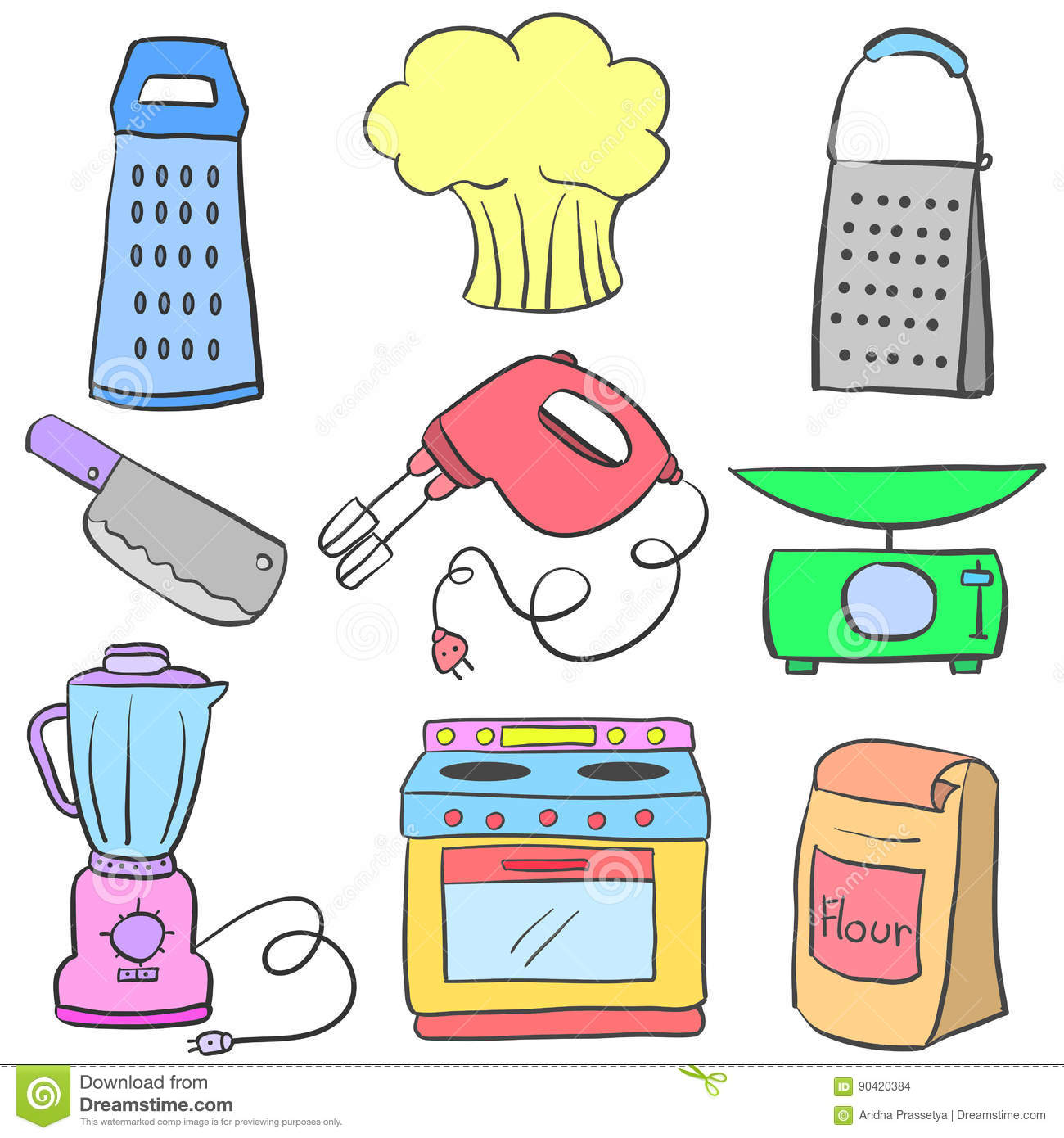 Doodle Of Kitchen Set Equipment Colorful Stock Vector Illustration