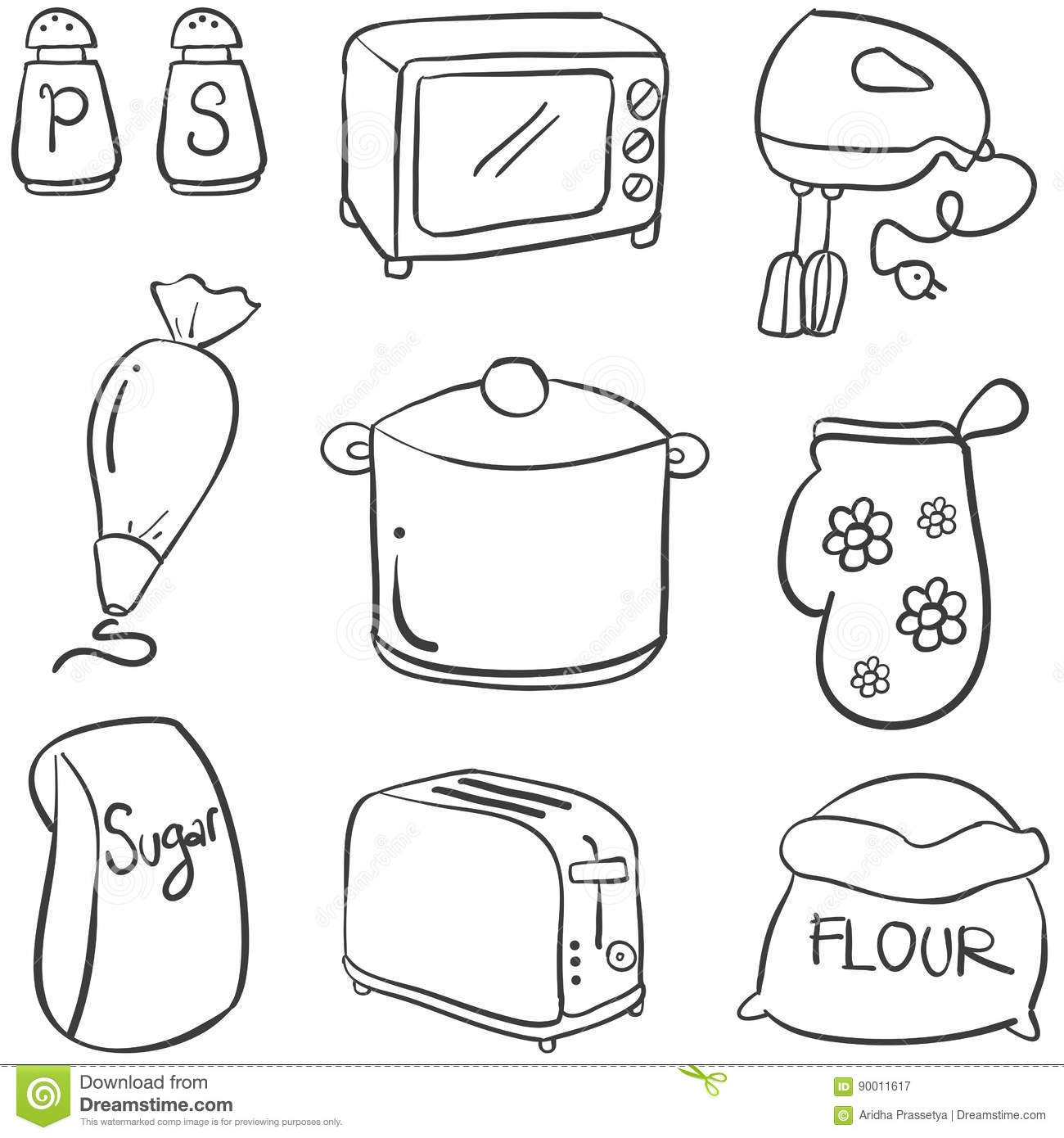 Doodle Of Kitchen Set Hand Draw Collection Stock Vector