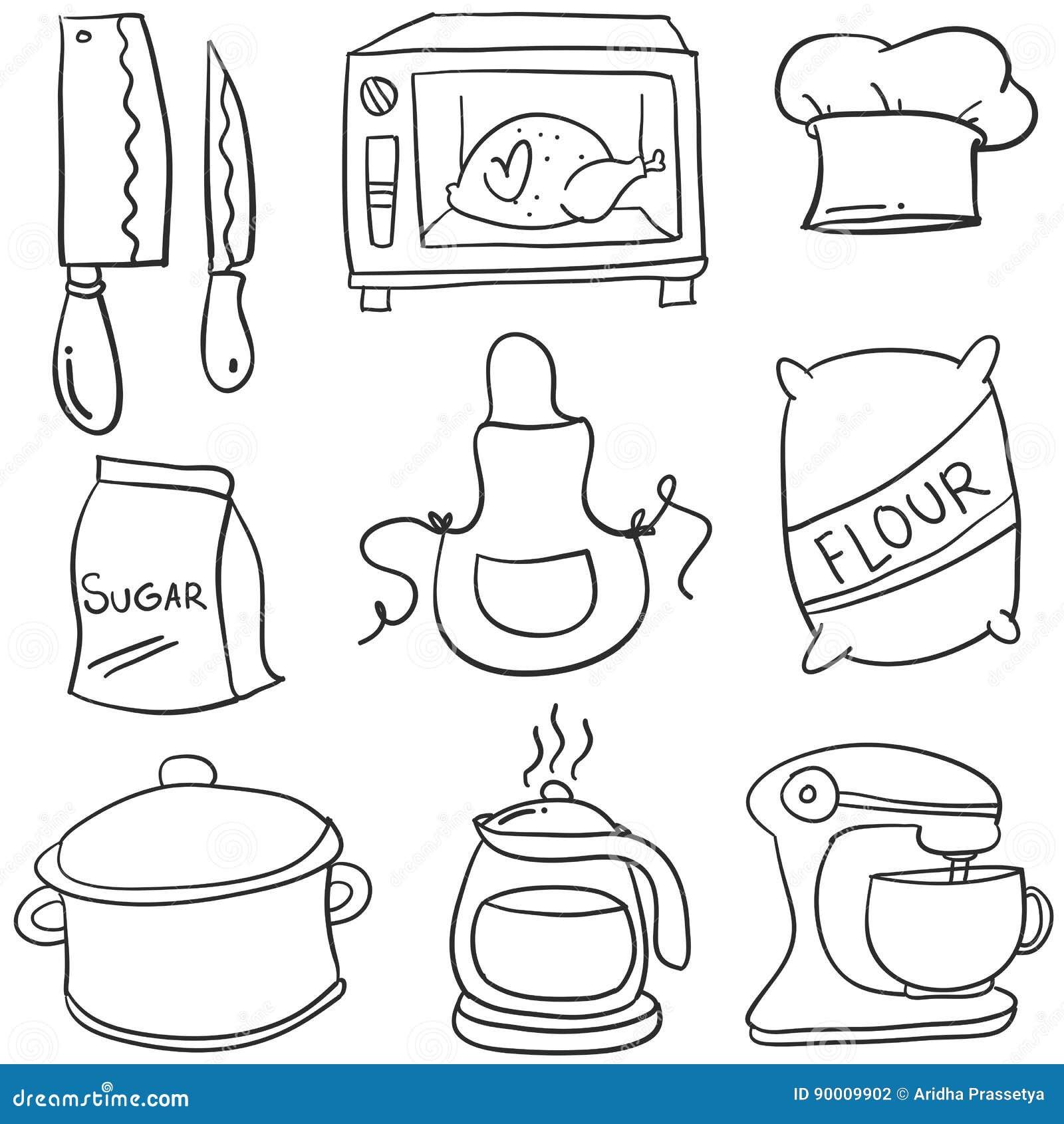 Doodle kitchen set hand draw