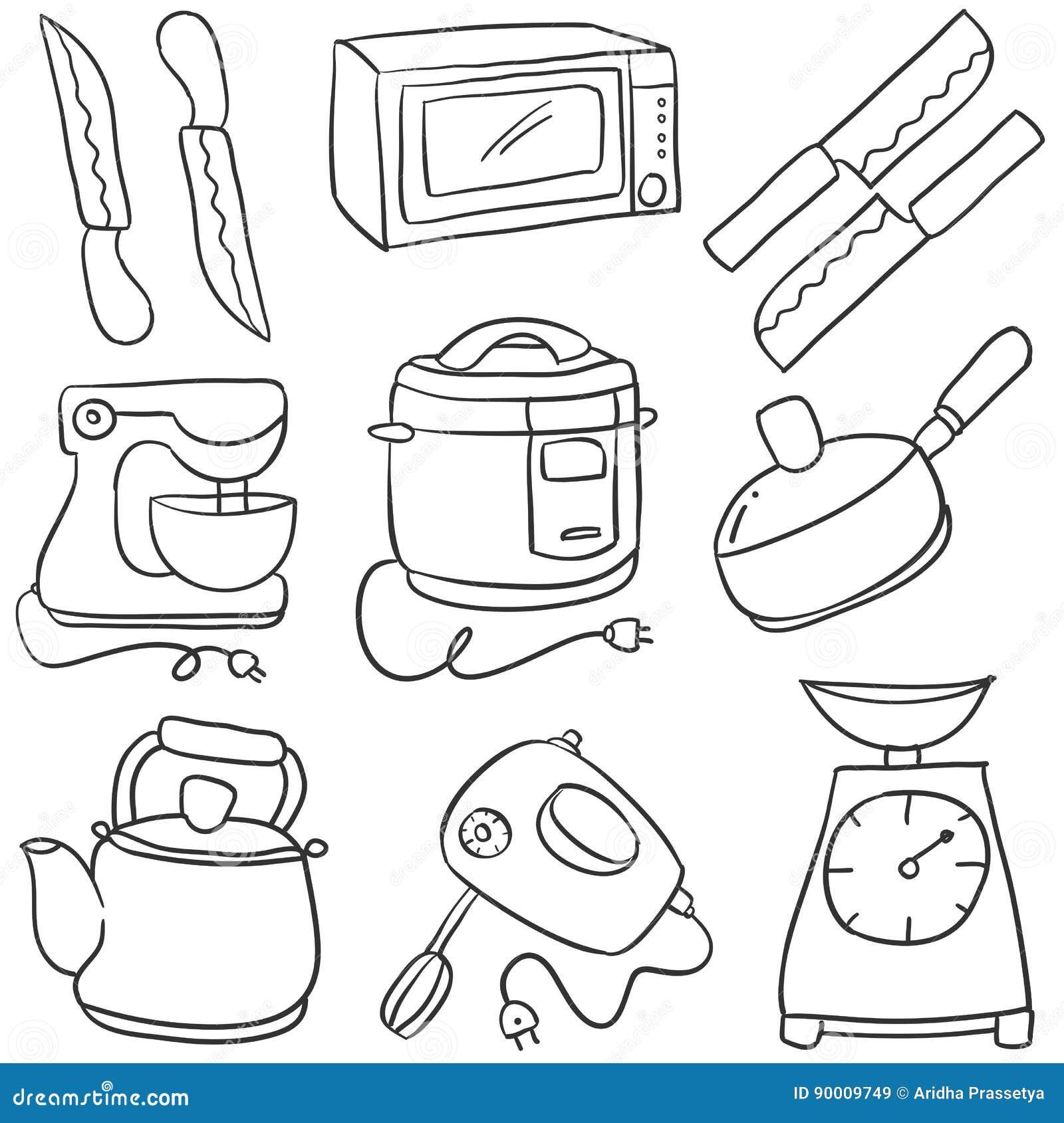Doodle Of Kitchen Set Style Cartoon Stock Vector Illustration Of