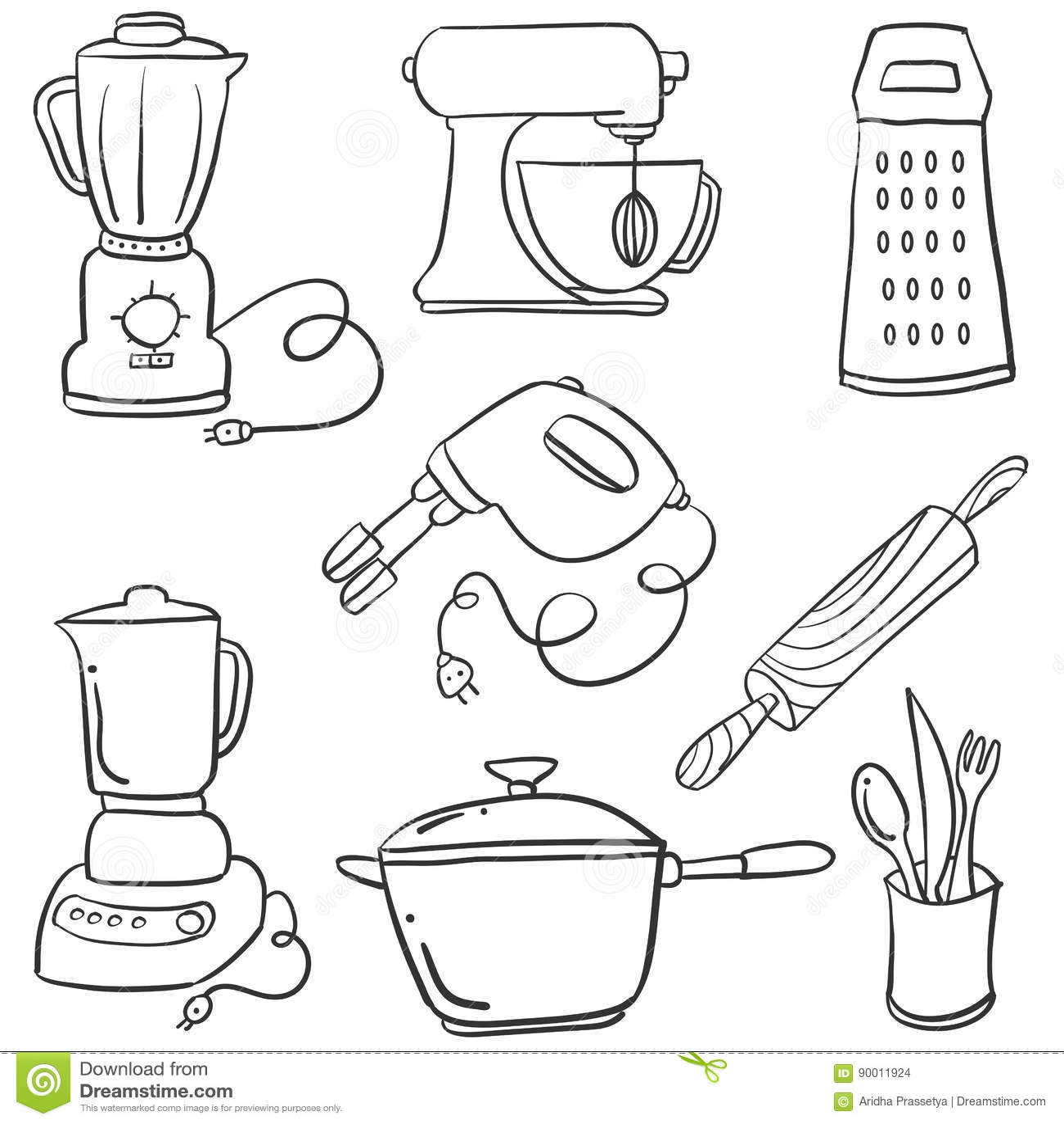 Doodle Kitchen Set Vector Art Stock Vector Illustration Of Cutlery
