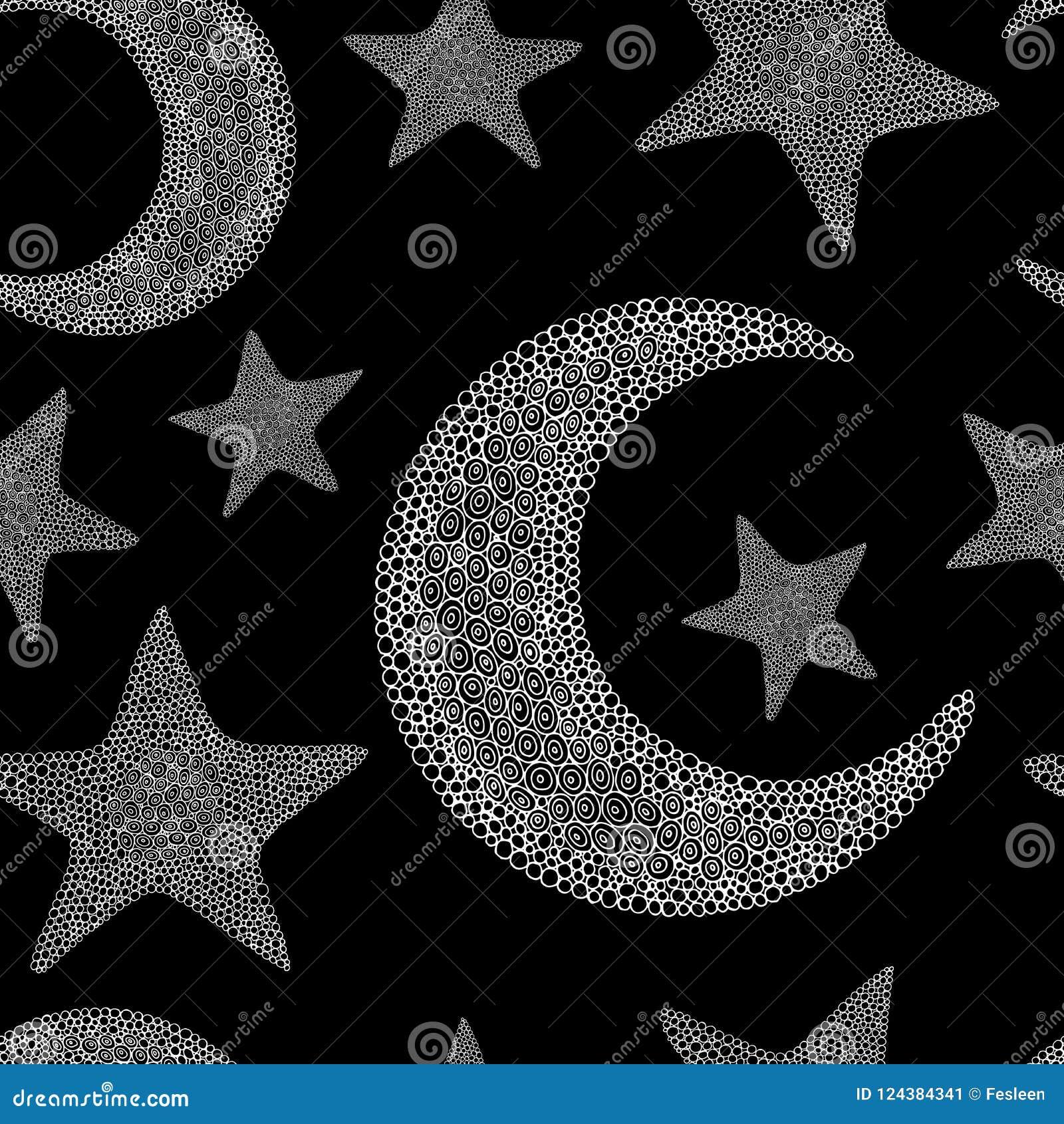Doodle księżyc i gwiazdowy bezszwowy wzór Czarny i biały backgroun