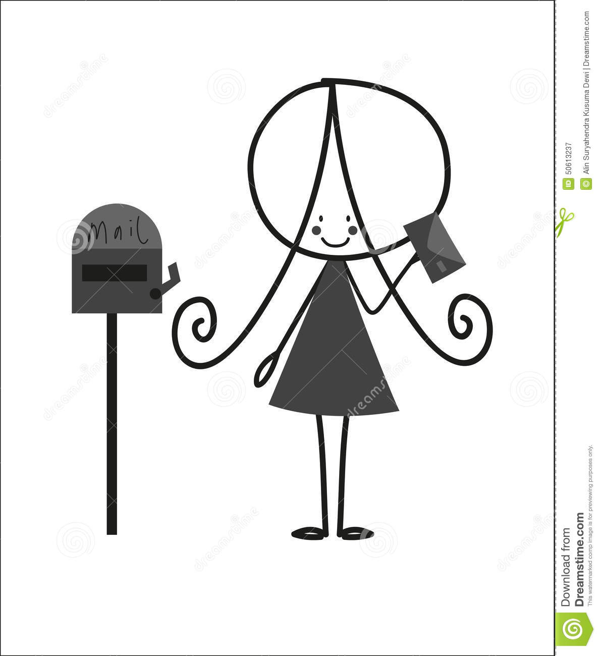 Doodle Little Girl Sending Letter Stock Vector  Illustration Of