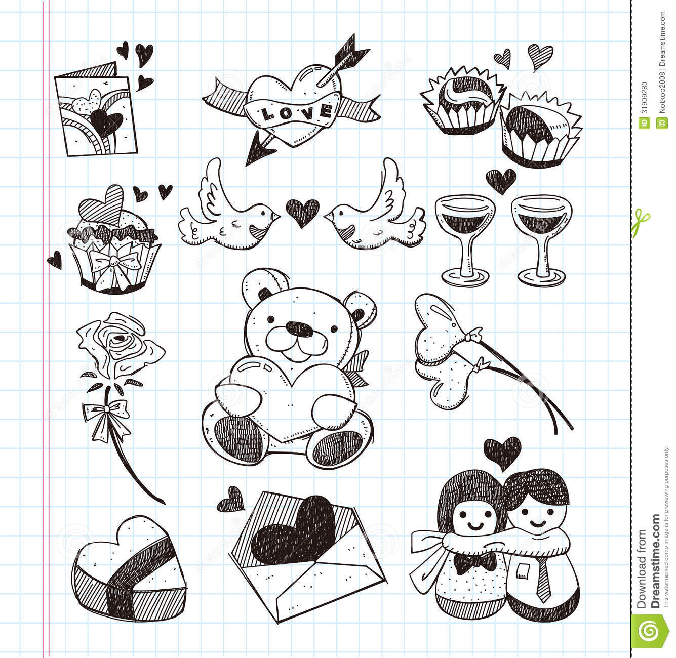 Cute Doodles To Draw For Your Girlfriend Doodle love icons stoc...