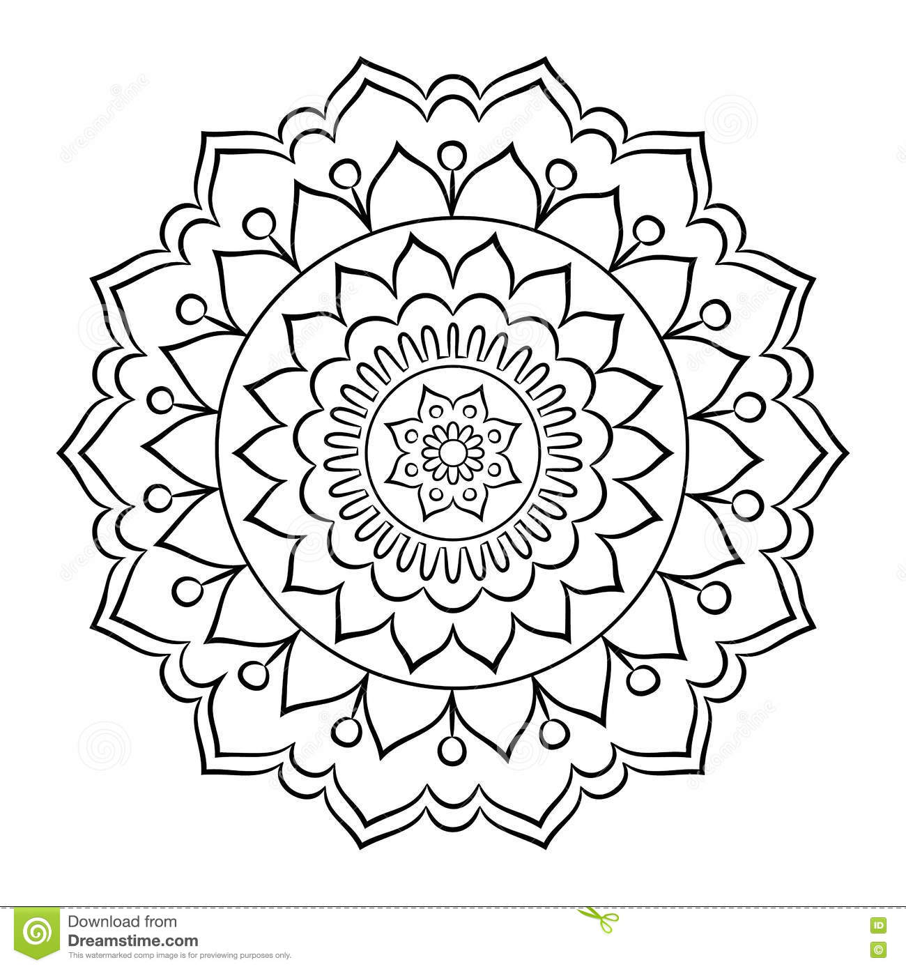 Doodle Mandala Coloring Page Stock Vector - Illustration of card ...