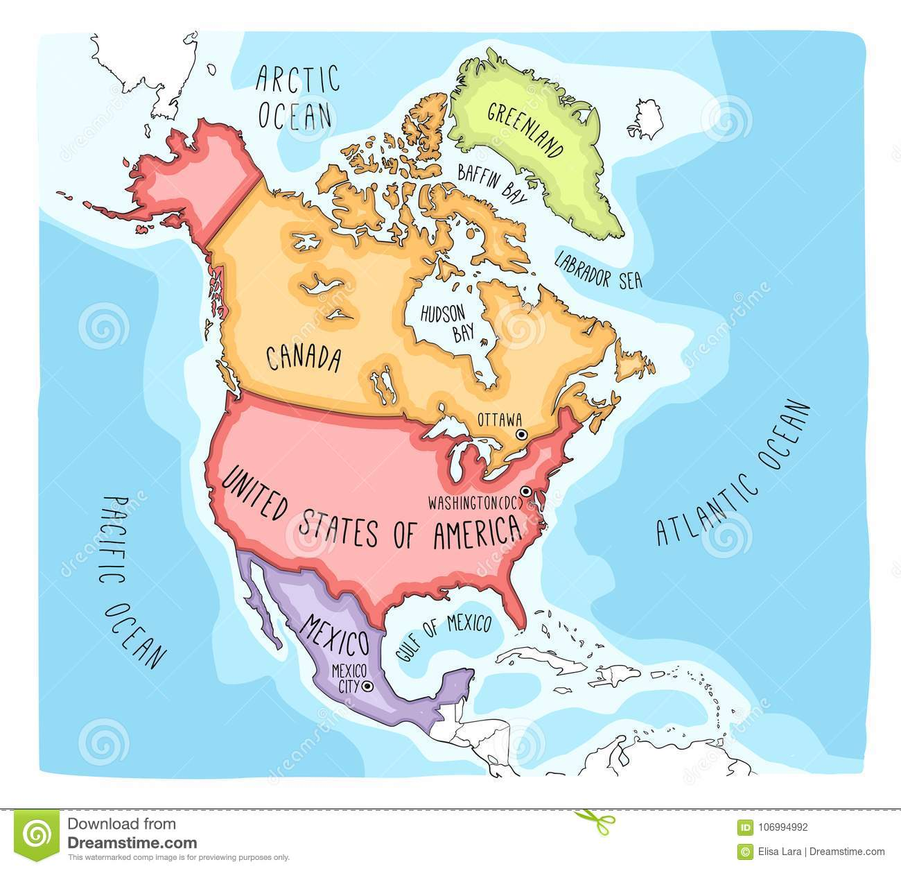 Doodle Map Of North America Stock Vector