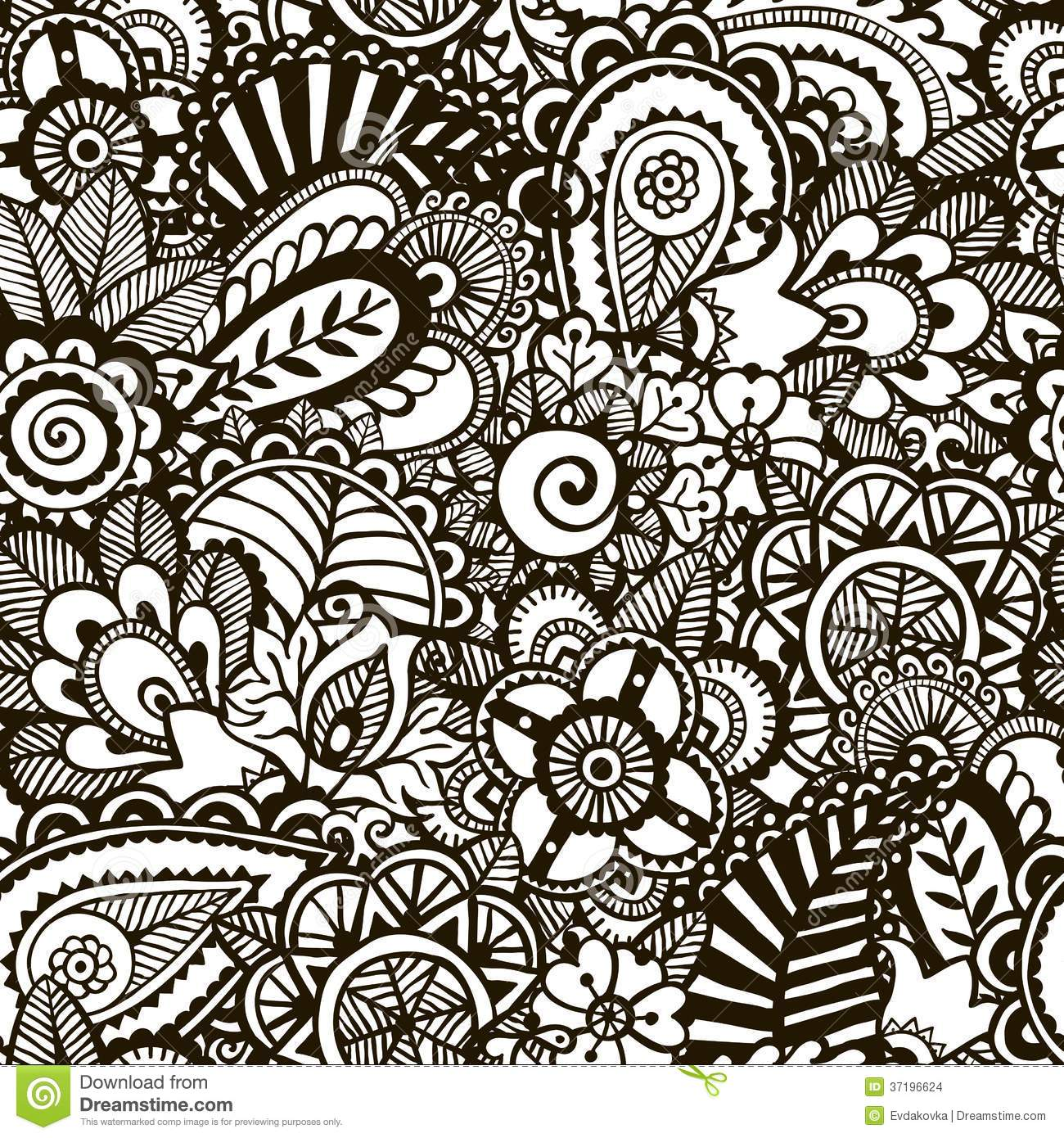 Doodle Monochrome Print Seamless Background Stock Vector