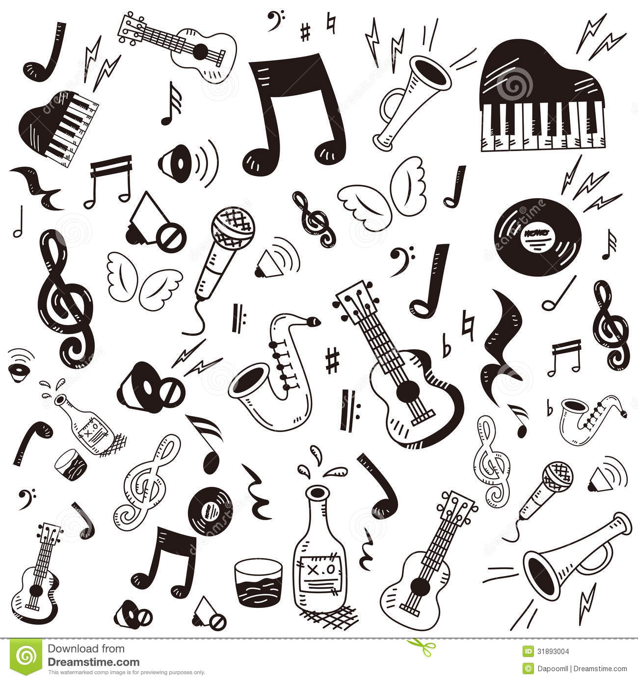Doodle Music Icon Set Stock Images Image 31893004