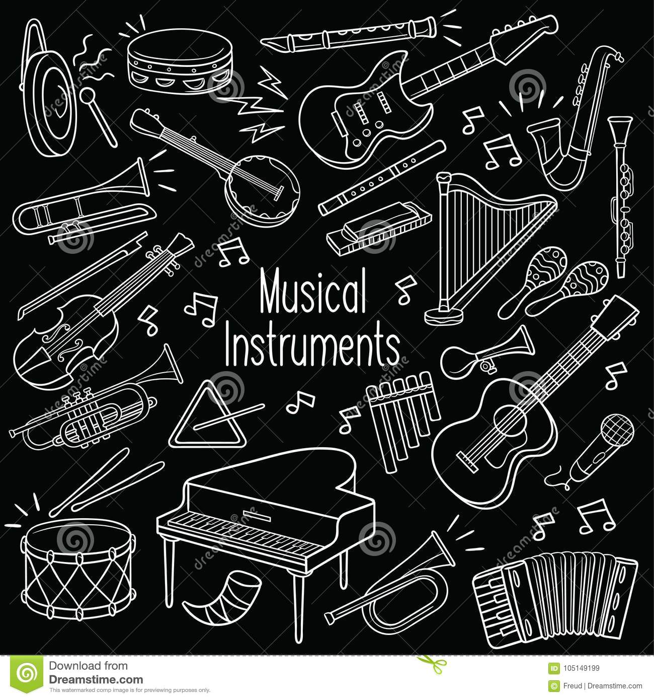 Doodle musical instruments in chalkboard