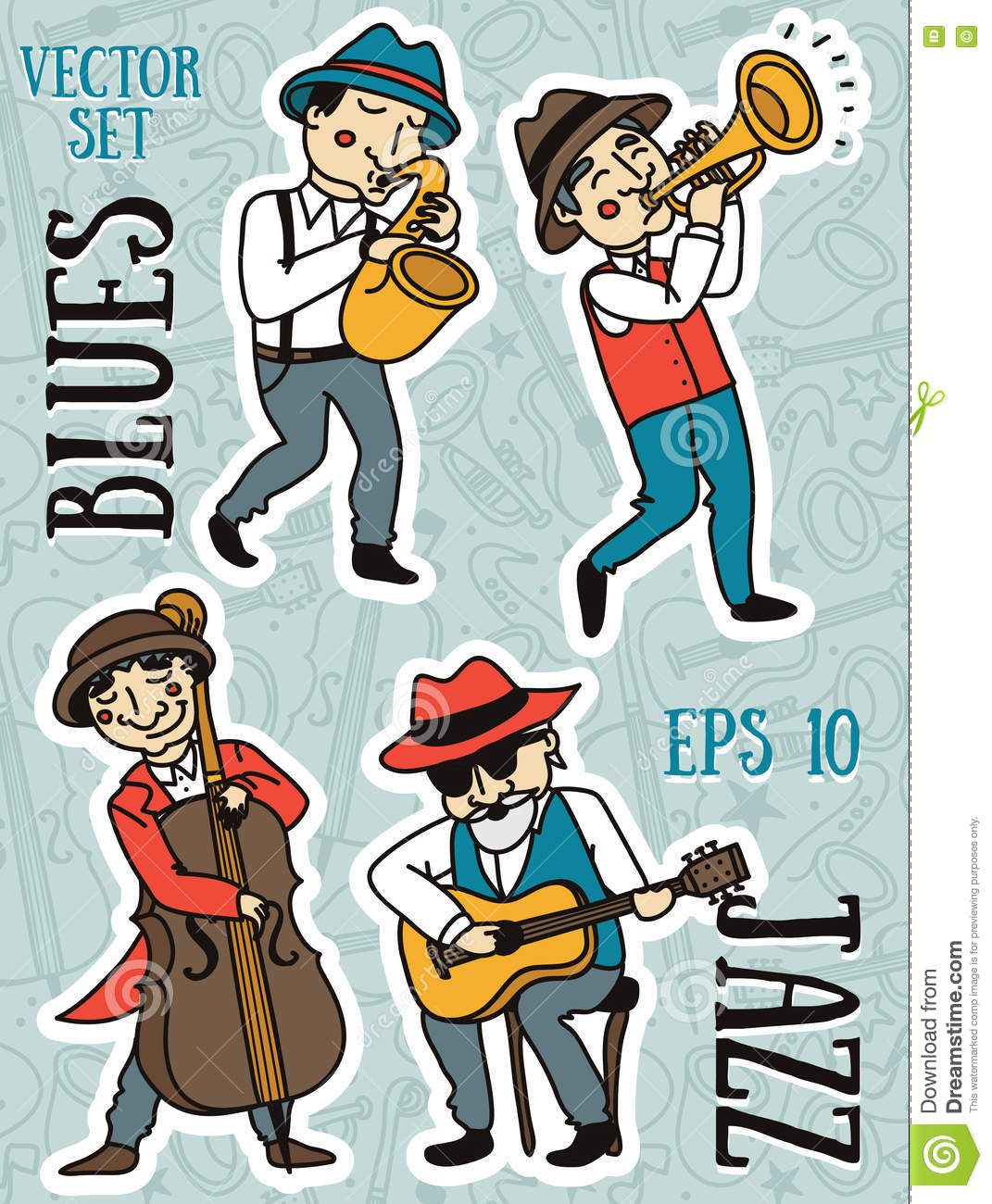 Doodle Musicians In 1920 39 S Style Jazz Or Blues Music Band Stock Vector Image 73860750