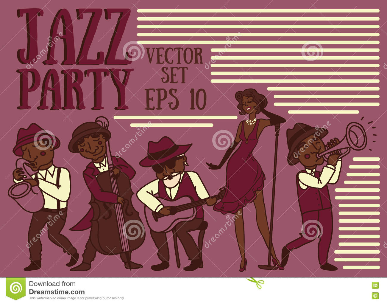 Doodle Musicians In 1920 39 S Style Jazz Or Blues Music Band Stock Vector Image 73861899