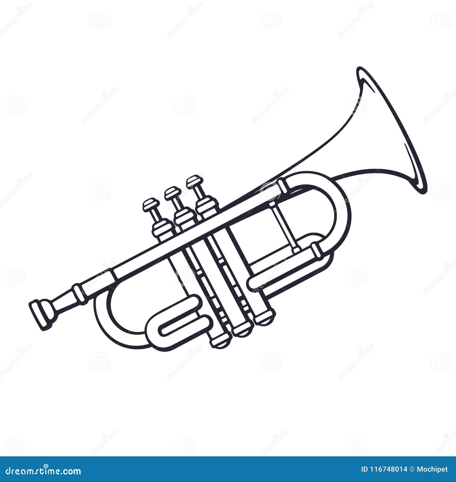 Doodle muzyka klasyczna wiatrowego instrumentu trąbka
