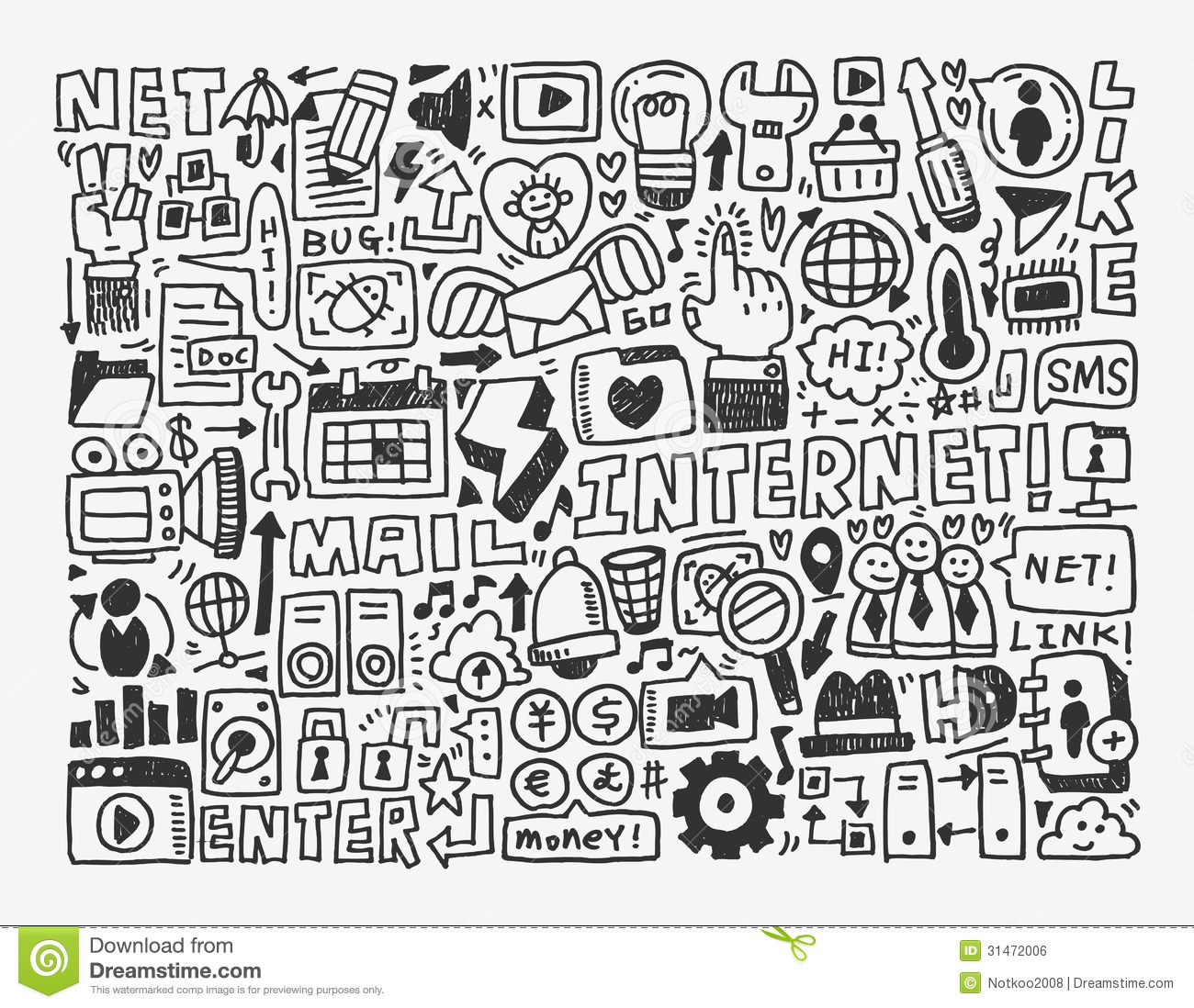 Doodle network element stock vector. Illustration of communications ...