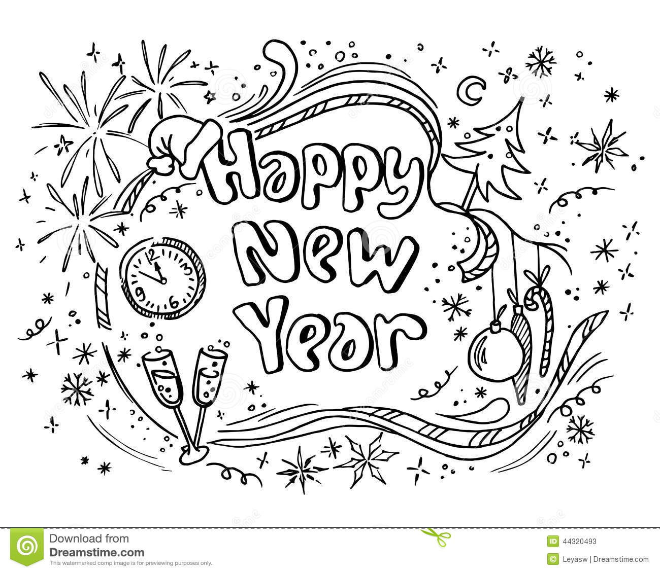 Doodle new year stock vector illustration of graphic for Doodle art free