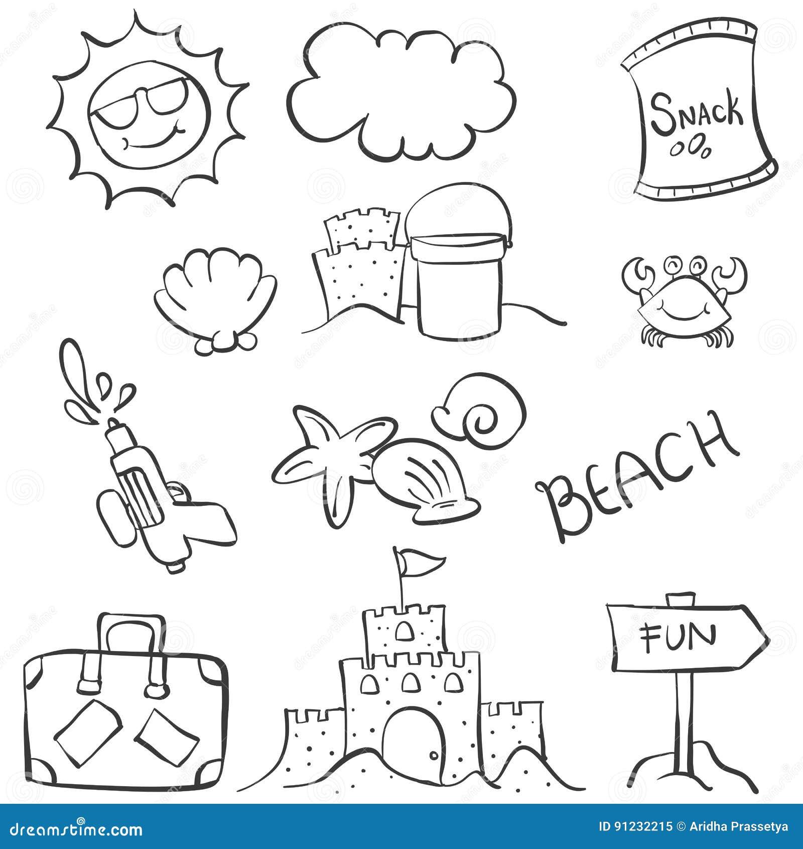 Doodle object summer beach hand draw stock vector illustration of download comp altavistaventures Images