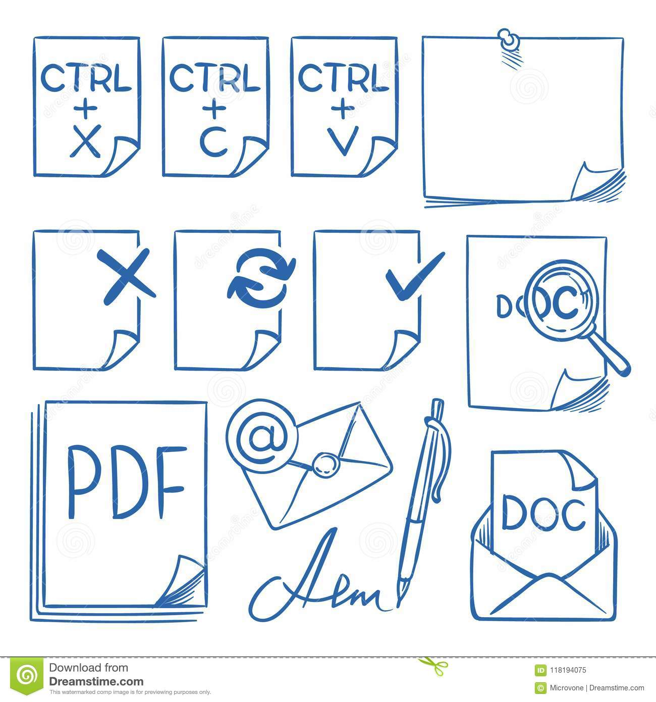 Doodle Office Paper Vector Icons With Function Symbols Update Paste