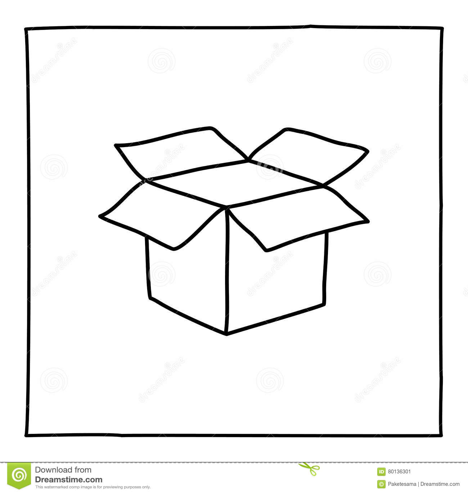 Doodle open box icon stock illustration. Illustration of draw - 80136301