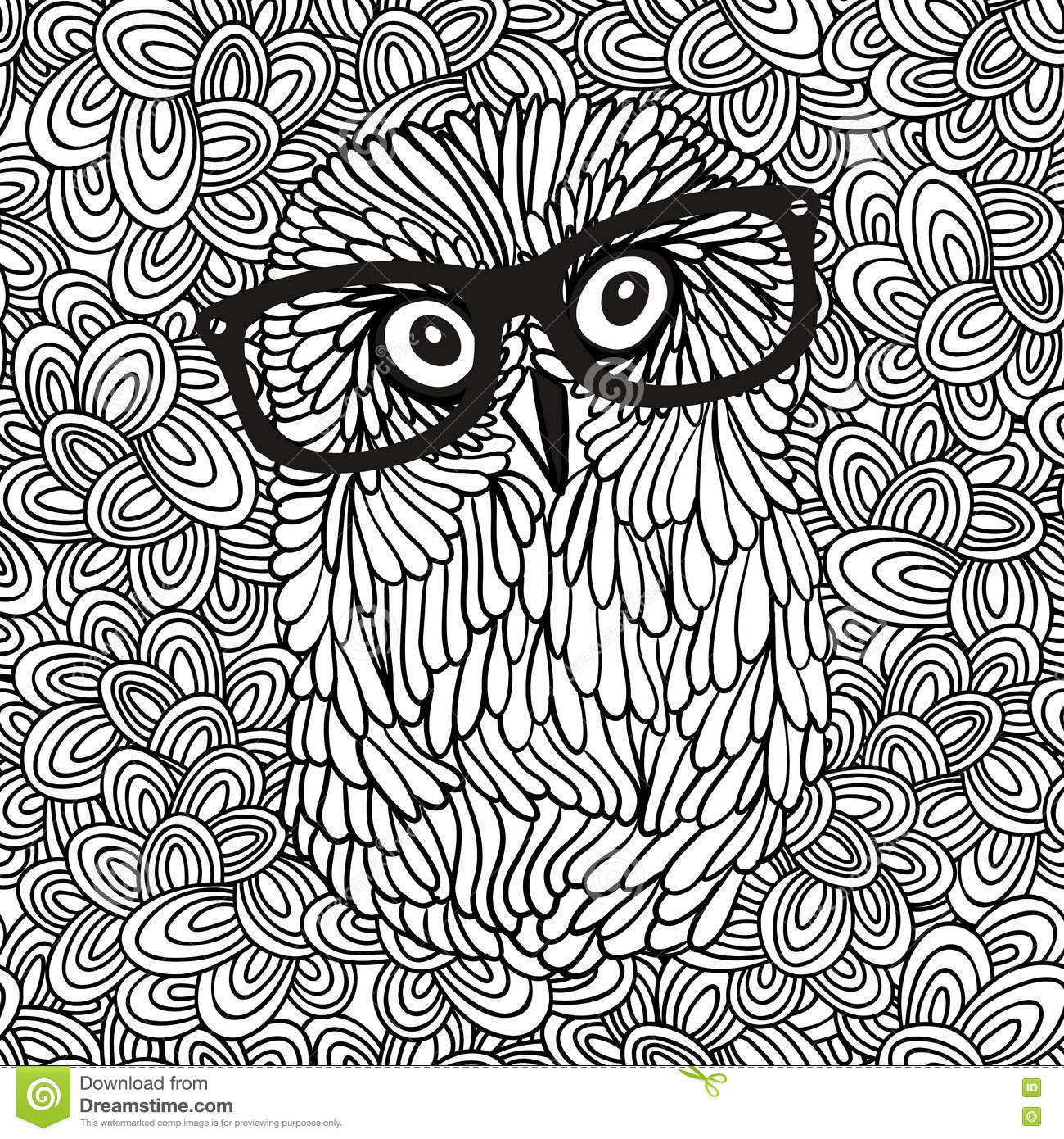 Doodle Pattern With Black And White Hipster Owl Image For Coloring
