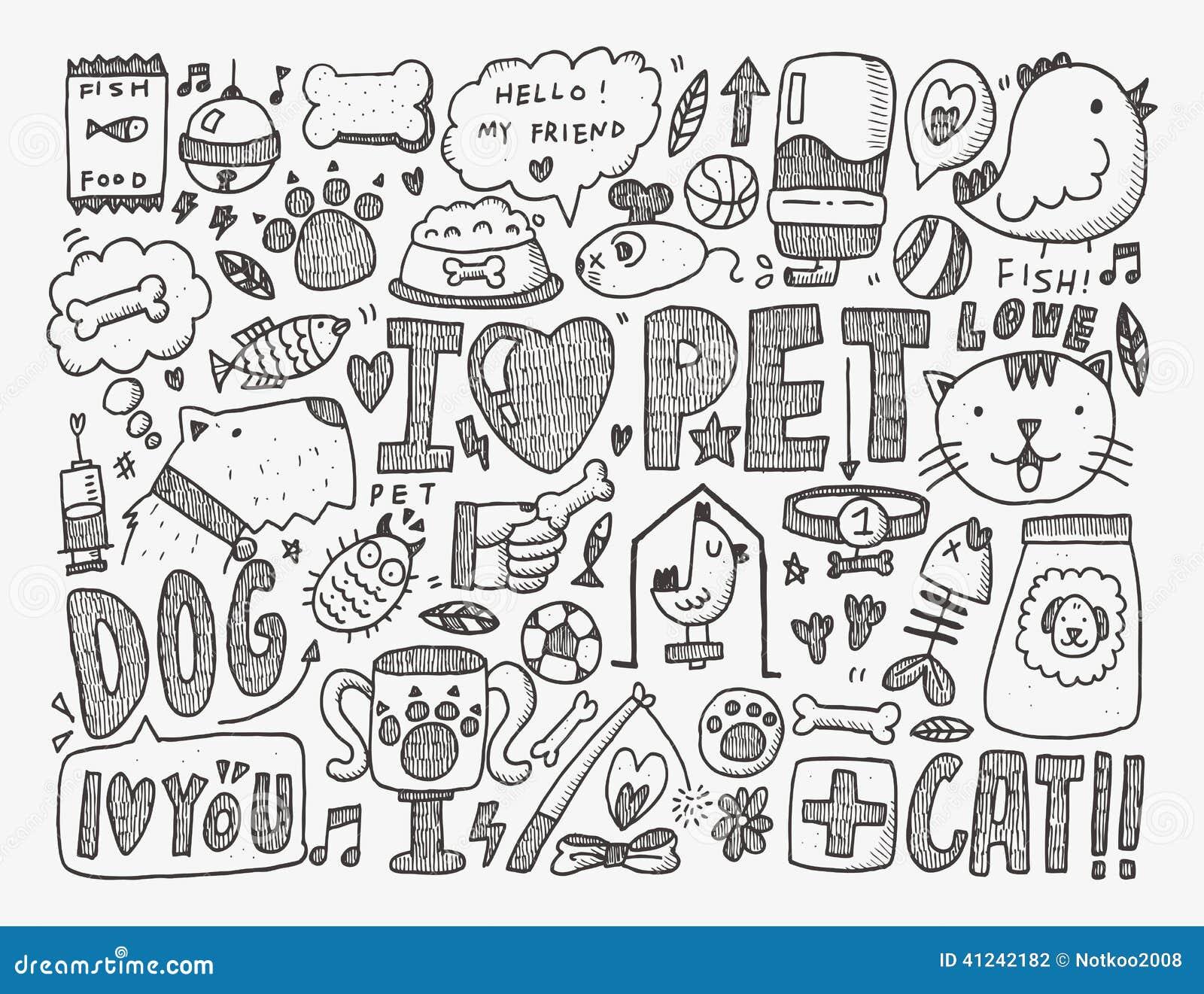 doodle pet background stock vector   image 41242182
