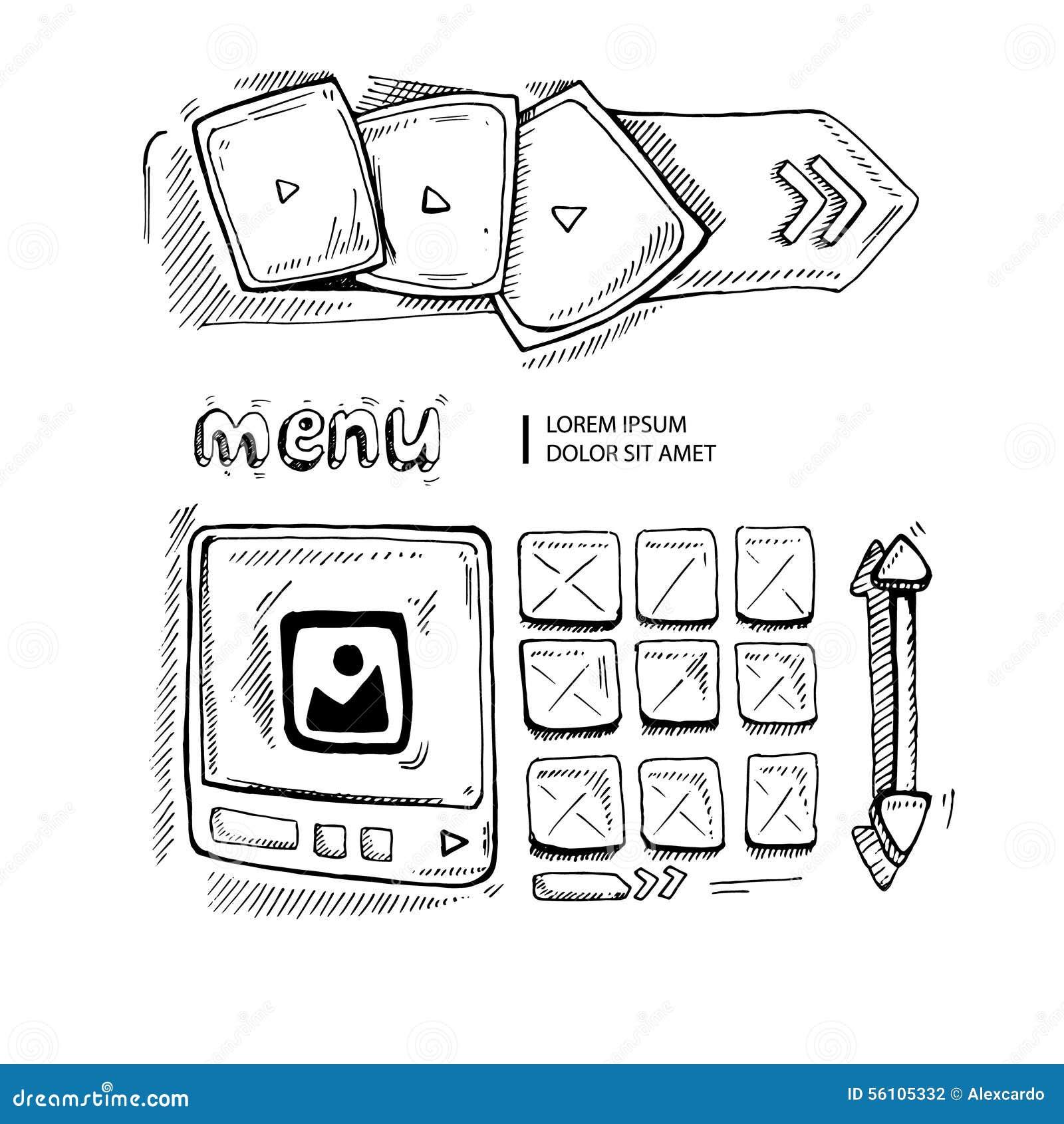 doodle portfolio wireframe stock vector