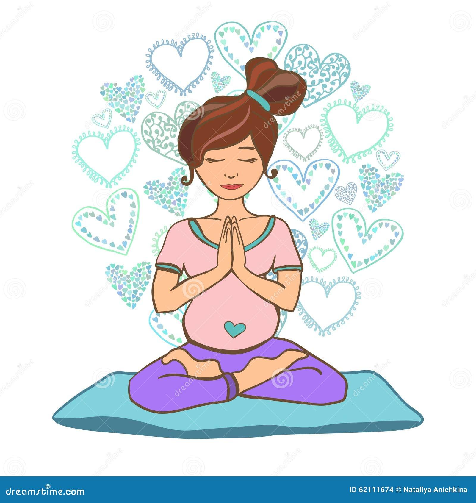 Doodle Prenatal Yoga Stock Vector Image 62111674