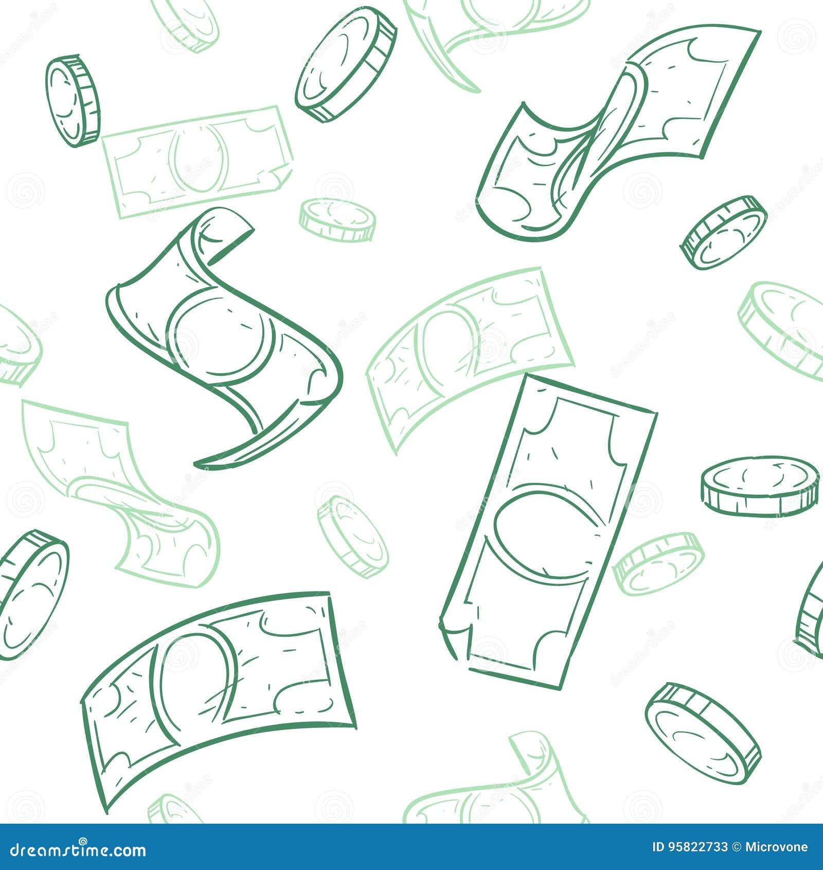 Doodle przepływ gotówki Padać pieniądze wektoru bezszwowego wzór Spada nakreślenie dolarów tło