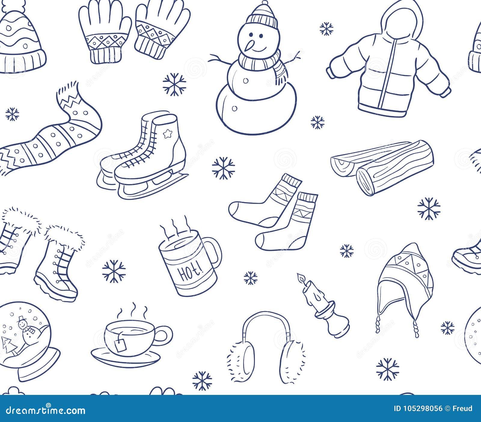 Doodle rękę rysującą zima elementy i przedmiota bezszwowy wzór