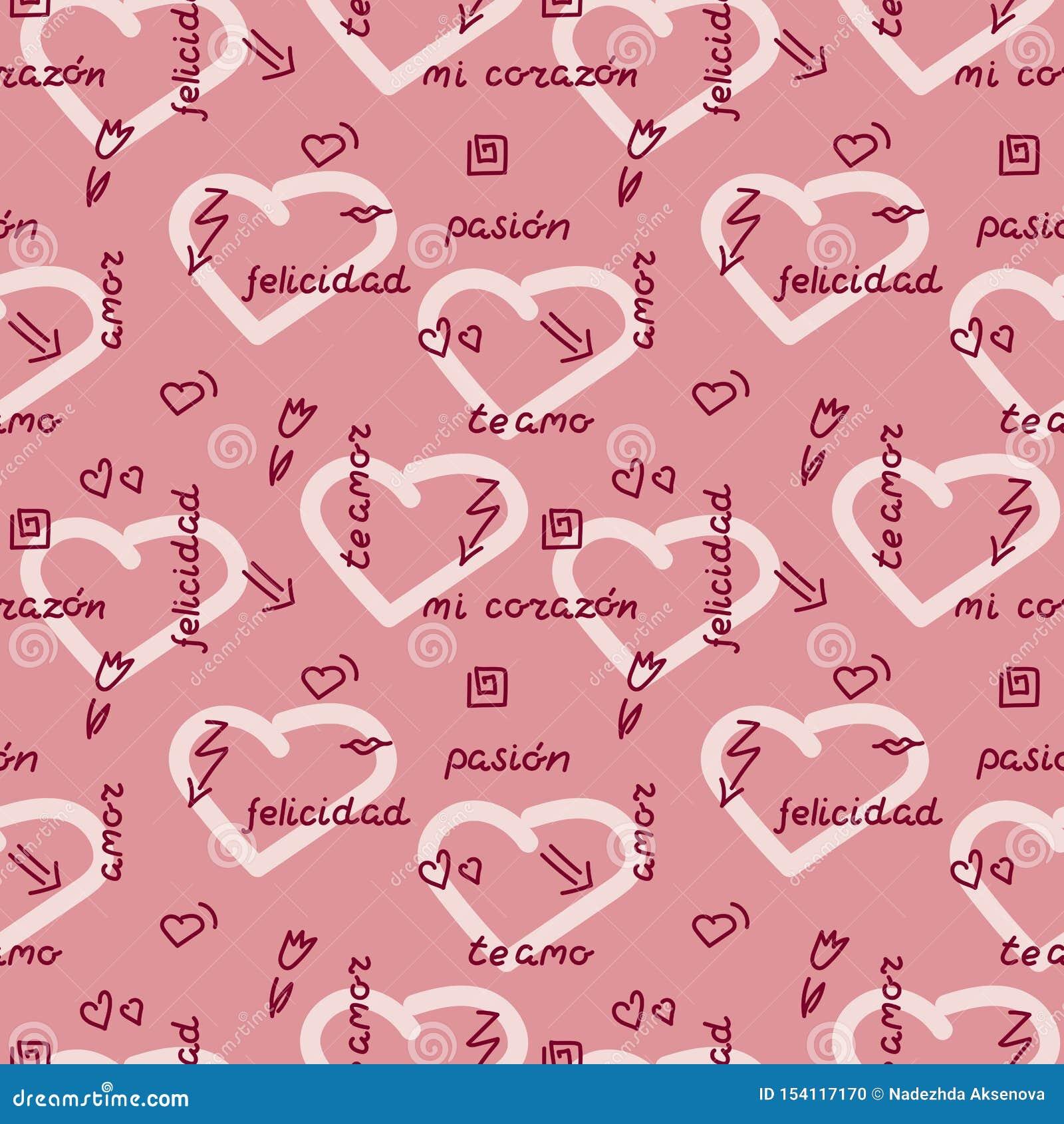 Doodle rękę rysuje bezszwowego wzór na różowym tle Słowa, zwroty miłość w hiszpańszczyznach, serca, strzały, kwiaty, squiggles