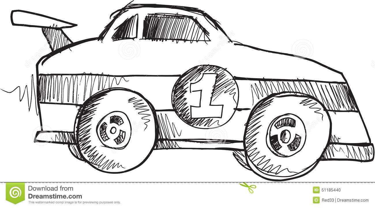 Doodle Race Car Vector Stock Illustration Illustration Of