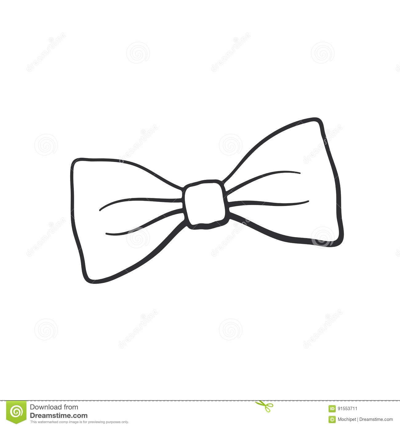 Cat In Hat Bow Tie Outline