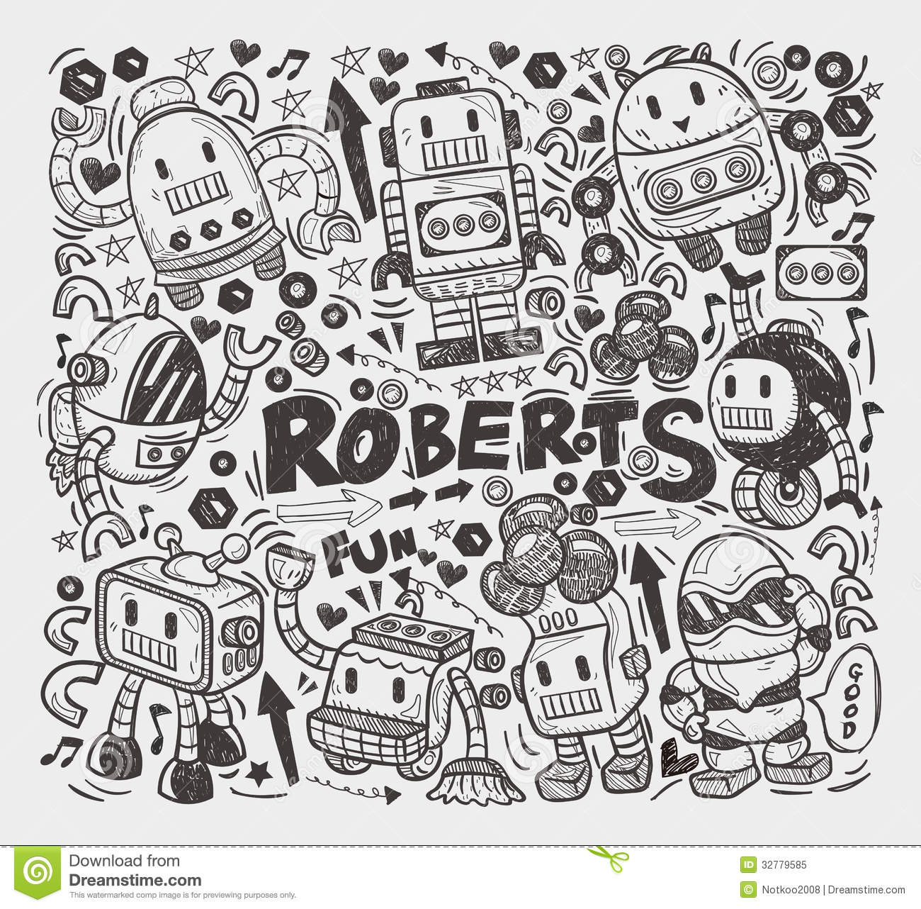 Line Drawing Doodles : Doodle robot element royalty free stock photo image