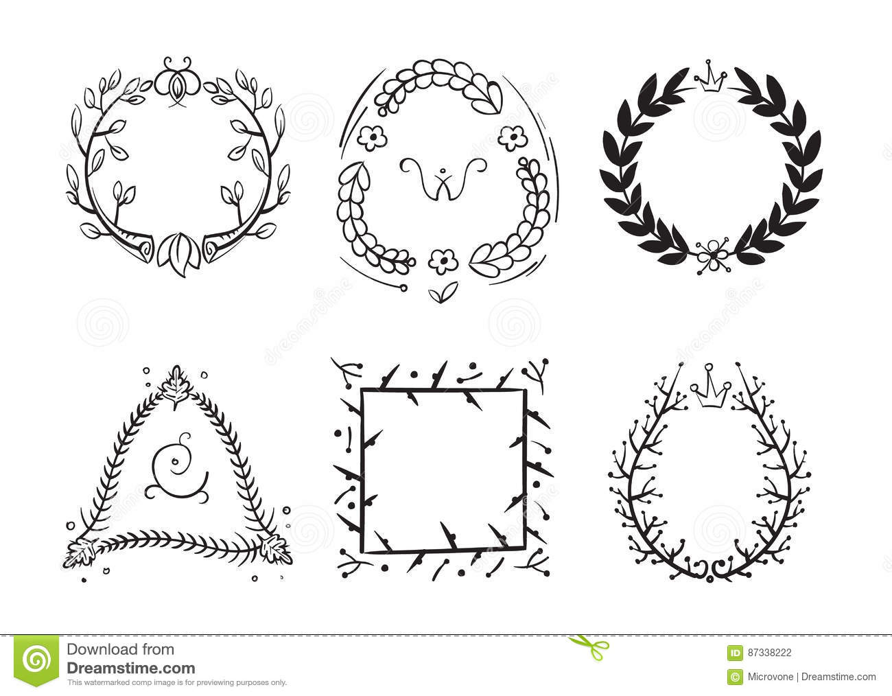 Doodle Rustic Branch Frames Vector Hand Drawn Nature Swirl Tree